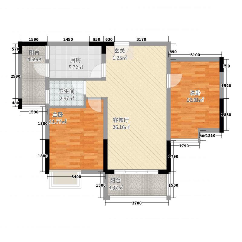 仁兴・城市花园87.70㎡13户型2室2厅2卫1厨