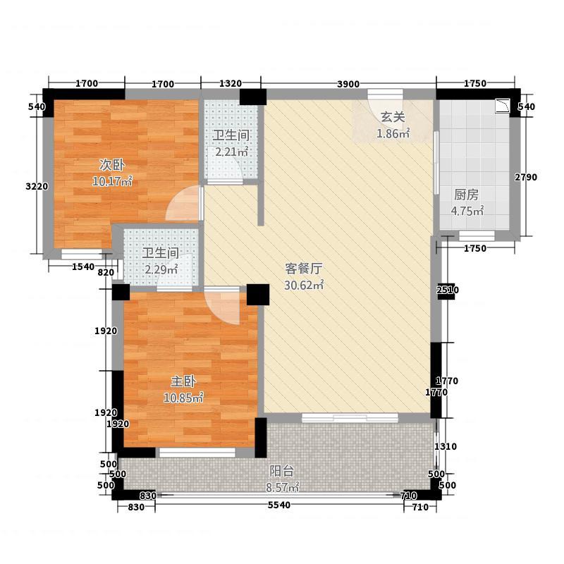 绿欧・�园22.20㎡02户型2室2厅2卫1厨