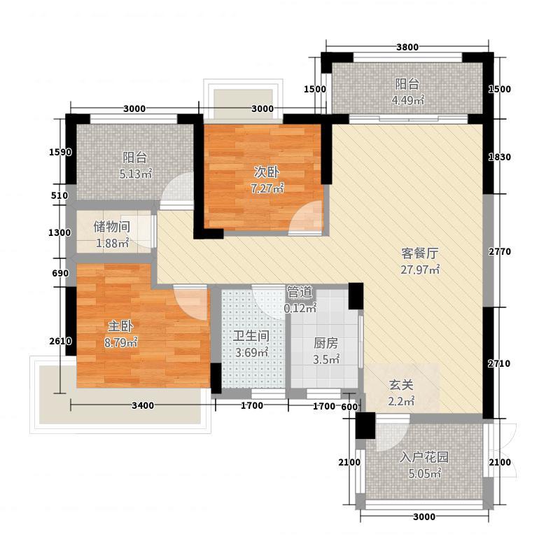 春风紫金港8.53㎡二期A1a户型3室2厅1卫1厨