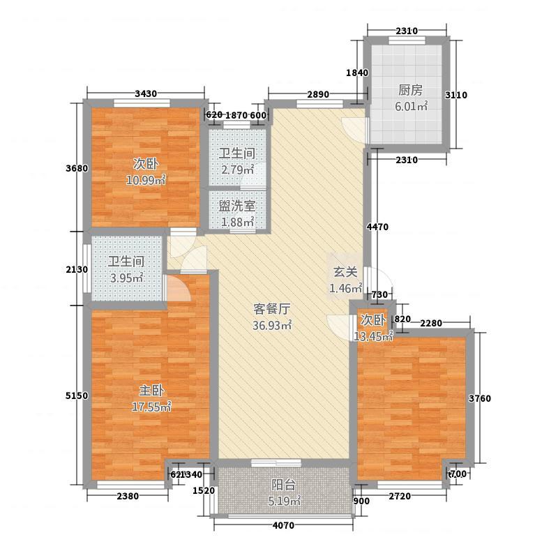 江南名苑14.52㎡C1户型3室2厅2卫1厨