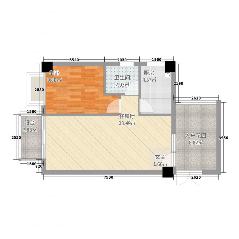 泰丰花苑75.00㎡F型户型1室2厅1卫1厨