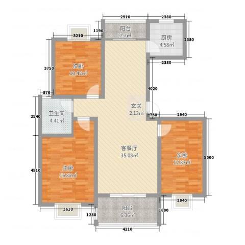 龙跃河山3室1厅1卫1厨92.20㎡户型图
