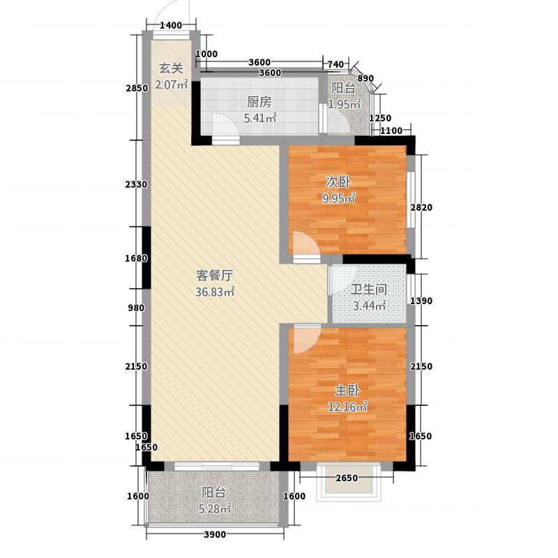 长虹百花沁苑6.32㎡E户型2室2厅1卫1厨