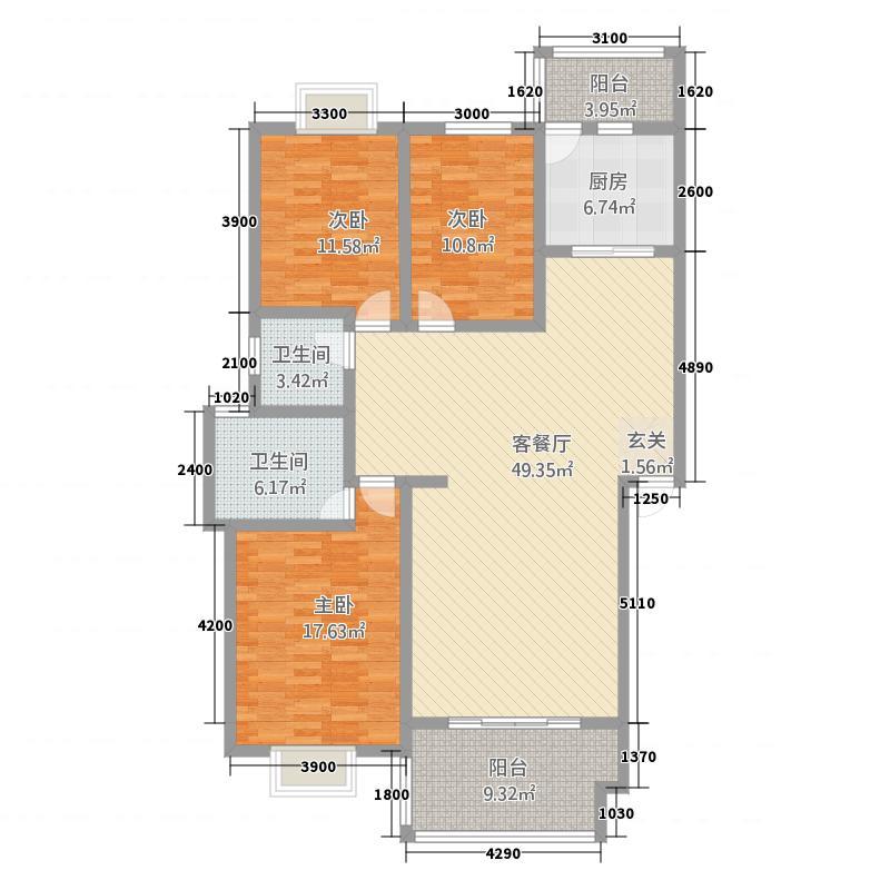 蓝郡新界14.00㎡C1型二-五层户型3室3厅2卫1厨