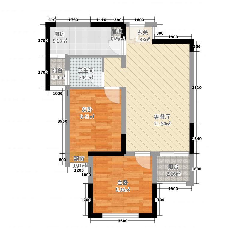 弘扬华城国际61.00㎡户型2室