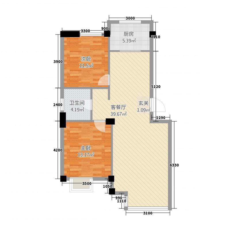海园壹品6.36㎡A-3#户型2室2厅1卫1厨