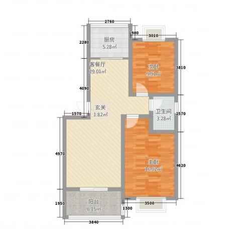 龙跃河山2室1厅1卫1厨221.00㎡户型图