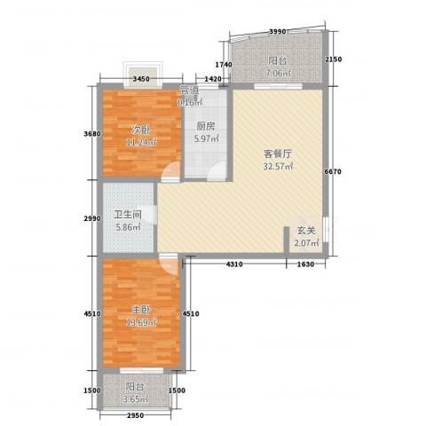 顺城一品2室1厅1卫1厨80.20㎡户型图