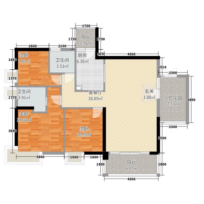 威尔登堡花园118.60㎡威尔登堡户型3室2厅1卫1厨