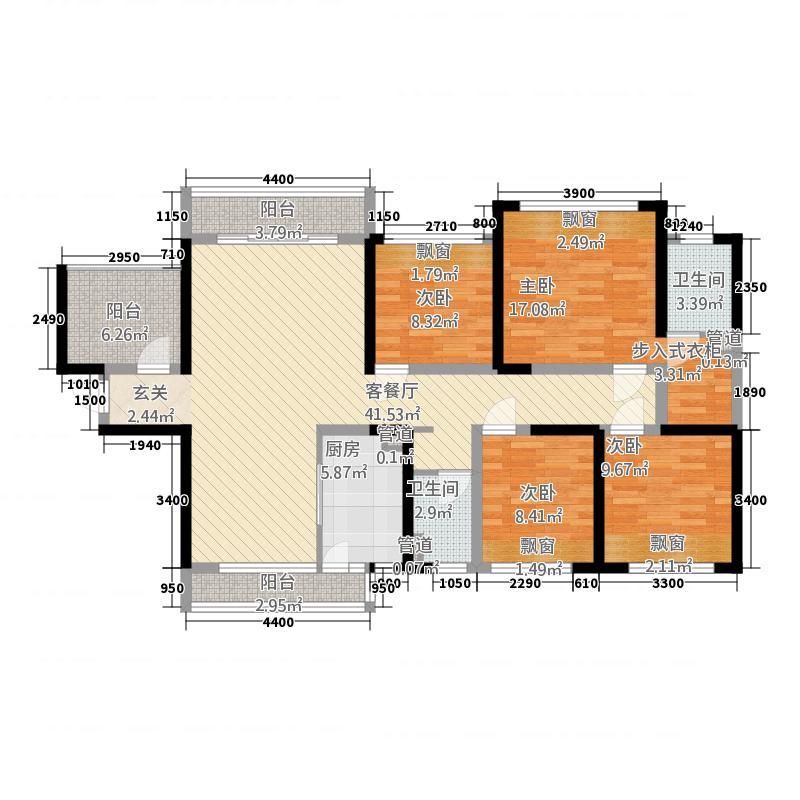 通泰・爱丽舍11143.20㎡1号楼户型4室2厅2卫