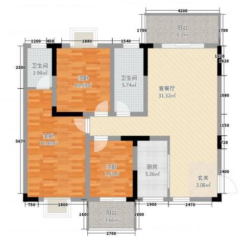长虹百花沁苑3室1厅2卫1厨117.00㎡户型图