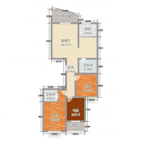 顺城一品3室1厅2卫1厨114.00㎡户型图