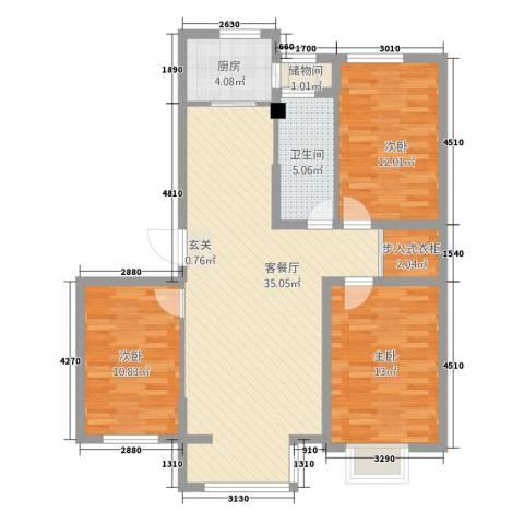 海园壹品3室1厅1卫1厨114.00㎡户型图