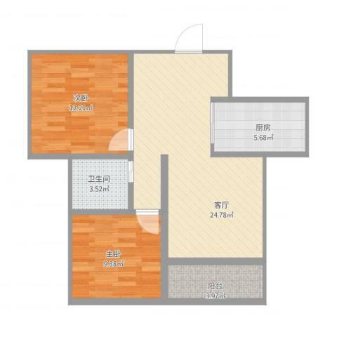 书香园2室1厅1卫1厨84.00㎡户型图