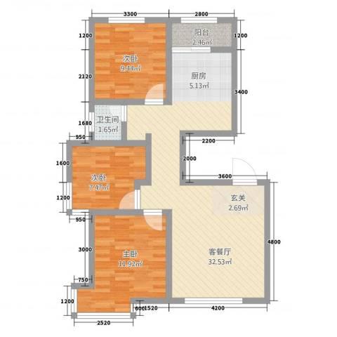 宗裕.悦府鑫城3室1厅1卫0厨65.45㎡户型图