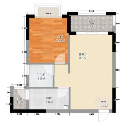 皇庭・御珑湾1室1厅1卫1厨215.00㎡户型图