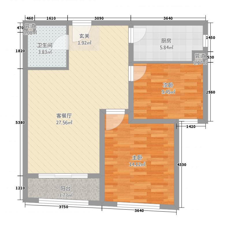 华韵财富公馆2.58㎡A户型2室2厅1卫1厨