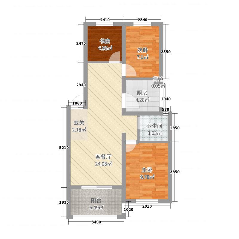 西城映象85.23㎡B1户型3室2厅1卫1厨