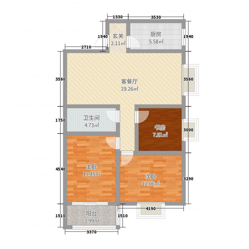金领世家13111.22㎡户型3室2厅1卫1厨