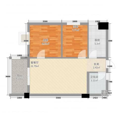 瑞阳首座2室1厅1卫1厨74.00㎡户型图