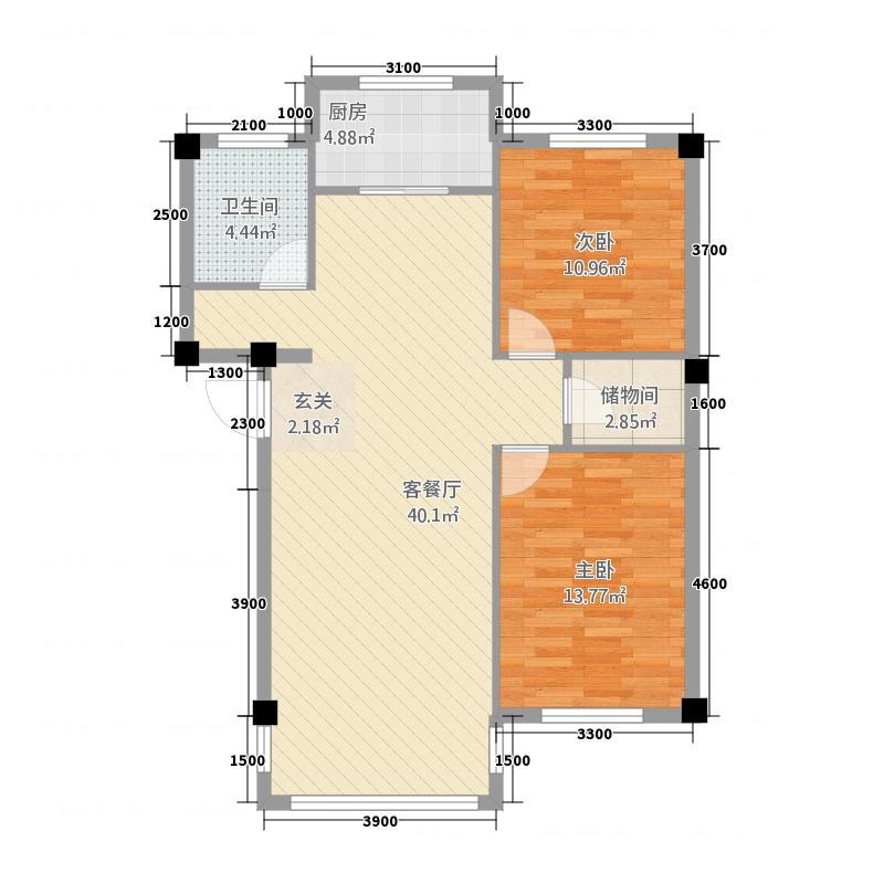 东方花园5.64㎡9564户型2室2厅1卫1厨