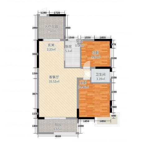 春江花月2室1厅1卫1厨82.55㎡户型图