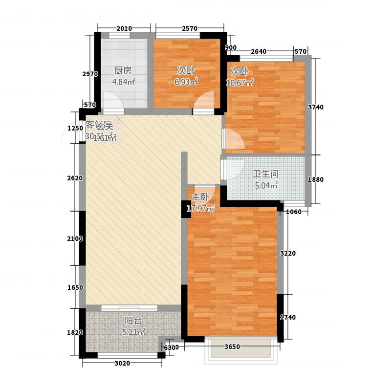 华府116.00㎡户型3室2厅1卫1厨