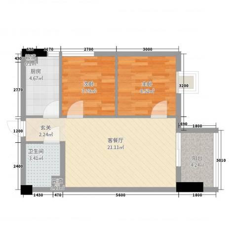 瑞阳首座2室1厅1卫1厨49.79㎡户型图