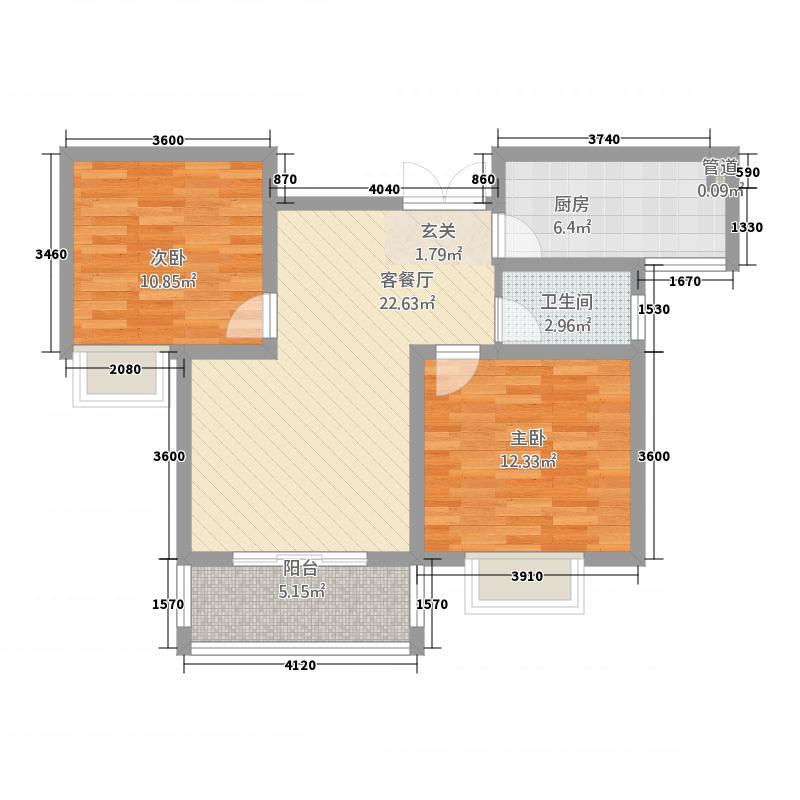 弘润山2288.20㎡B户型2室2厅1卫1厨