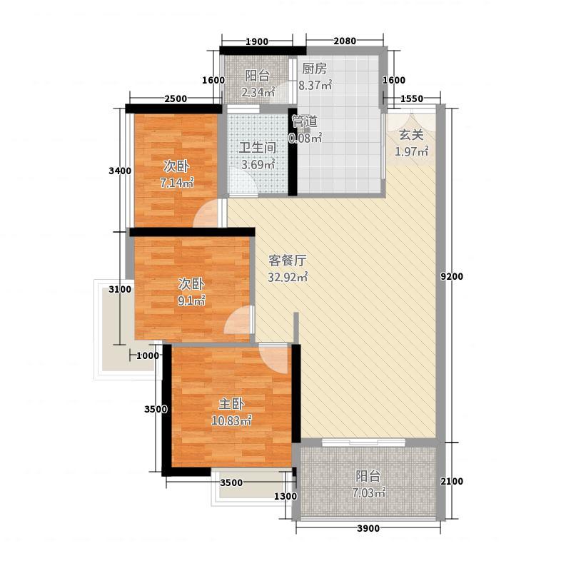 龙湖兆福苑8.30㎡3号楼01、02对称相同户型3室2厅1卫1厨