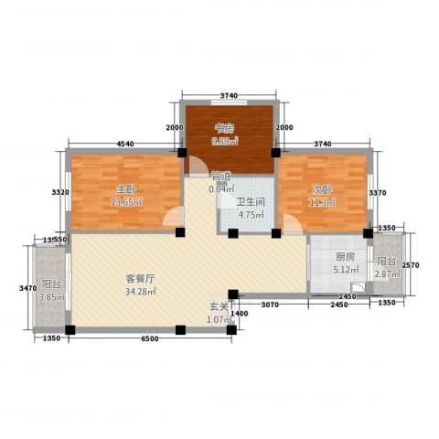 住建一品3室1厅1卫1厨85.74㎡户型图