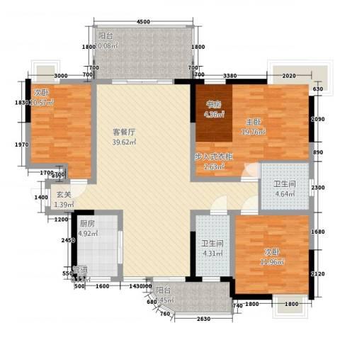 春江花月3室1厅2卫1厨157.00㎡户型图