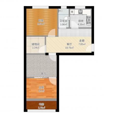 劲松一区2室2厅1卫1厨67.00㎡户型图