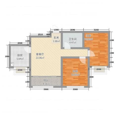 滨河城市经典2室1厅1卫1厨85.00㎡户型图