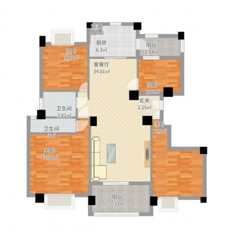 安阳碧桂园4室1厅2卫1厨148.00㎡户型图