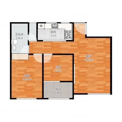 翠屏诚园2室1厅1卫1厨85.00㎡户型图