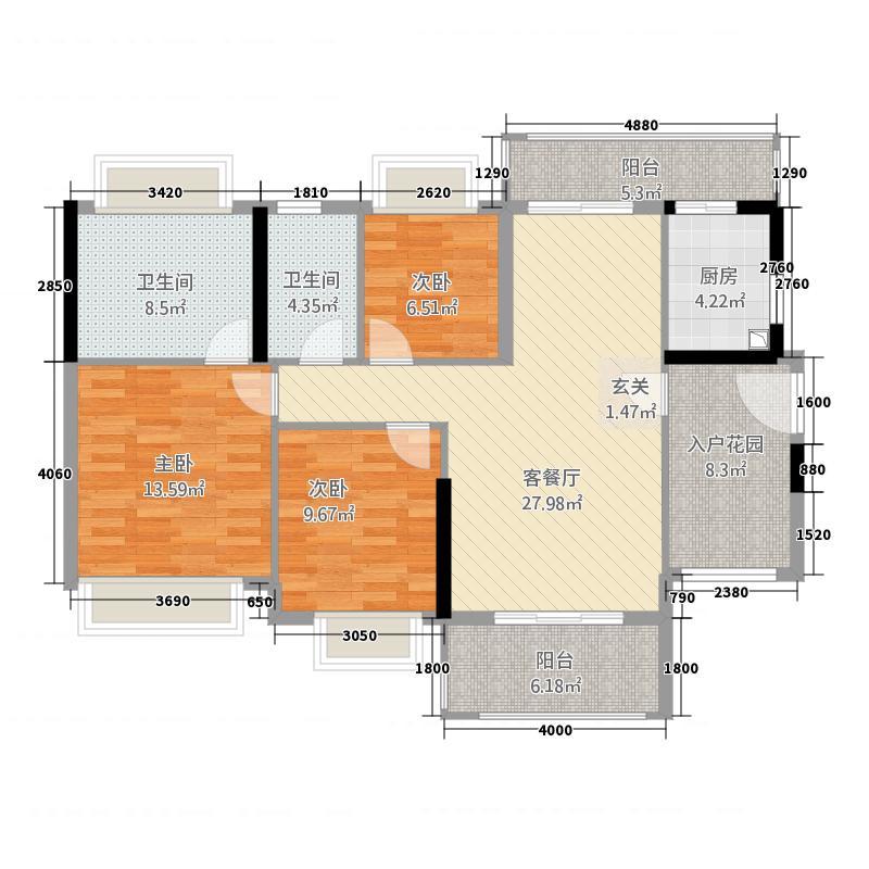 正德・�珑山11.00㎡4栋03户型3室2厅2卫1厨