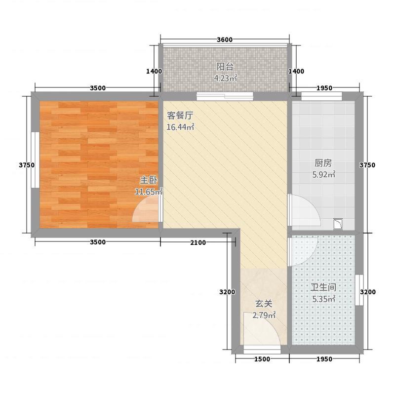 福寿居・老年公寓58.72㎡A-户型1室1厅1卫1厨
