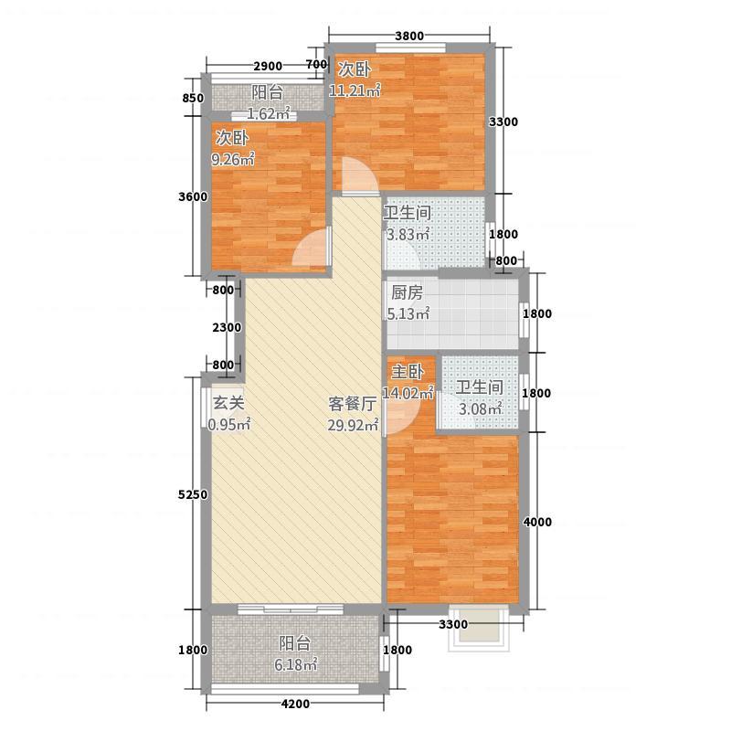 荆门天地11.84㎡B户型3室2厅2卫1厨