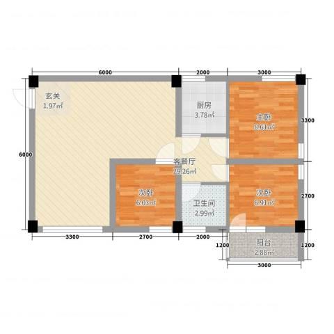 春晖庭院3室1厅1卫1厨87.00㎡户型图