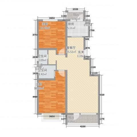 御泉苑新泉湾2室1厅2卫1厨116.00㎡户型图