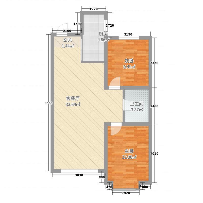 建工玉龙湖88.00㎡玉龙湖户型2室2厅1卫