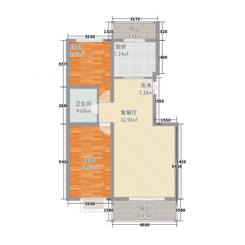 卓沁庄园2211.82㎡A户型2室2厅1卫1厨