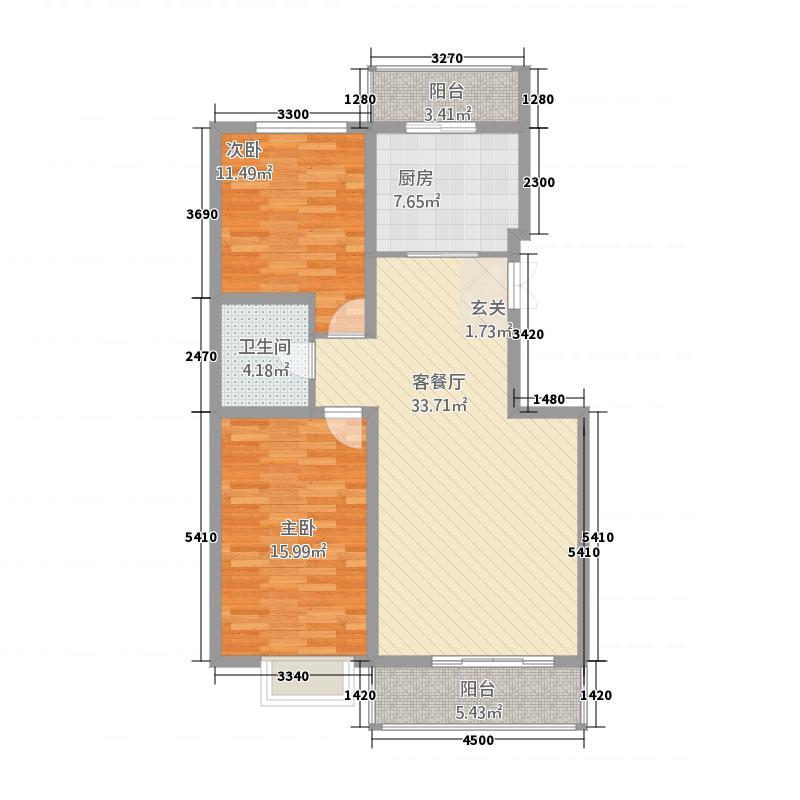 卓沁庄园22114.66㎡C户型2室2厅1卫