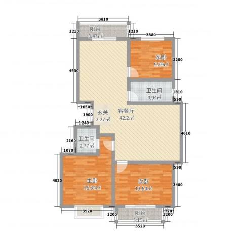 港湾花园3室1厅2卫0厨136.00㎡户型图