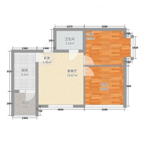 金桥银座2室1厅1卫1厨67.00㎡户型图