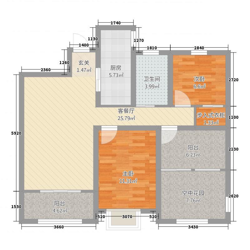 文一云河湾8.26㎡G102户型2室2厅1卫1厨