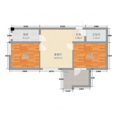 金桥银座2室1厅1卫1厨76.00㎡户型图