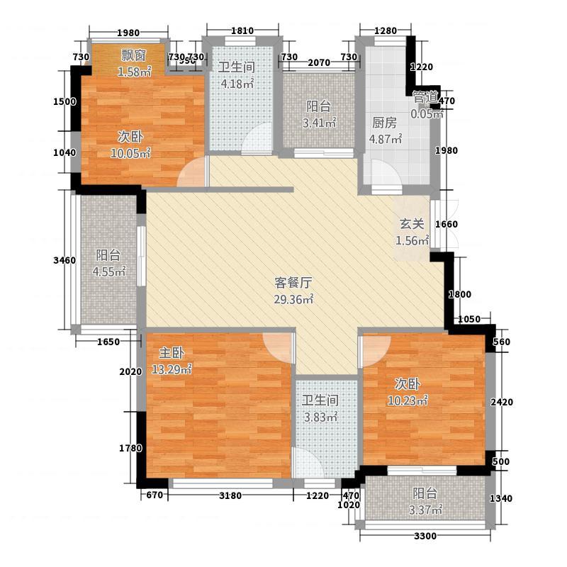 武夷名仕园项目124.00㎡4#-8#、13#、14#、15#标准层C户型4室2厅2卫1厨