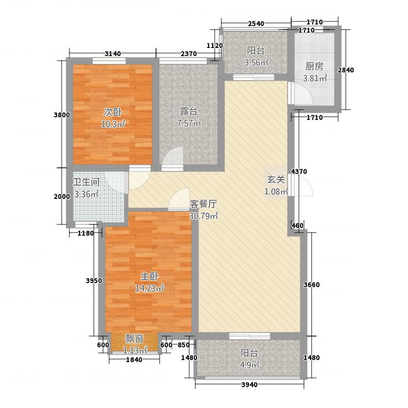 昊城景都二期111.20㎡J2户型2室2厅1卫1厨